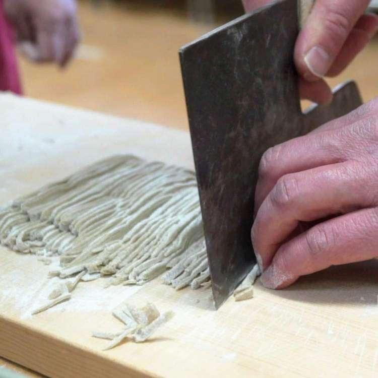 Cutting Soba Noodle Edible Japan