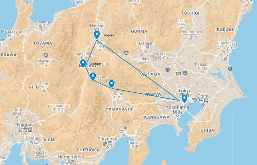 Edible Japan Tour Map
